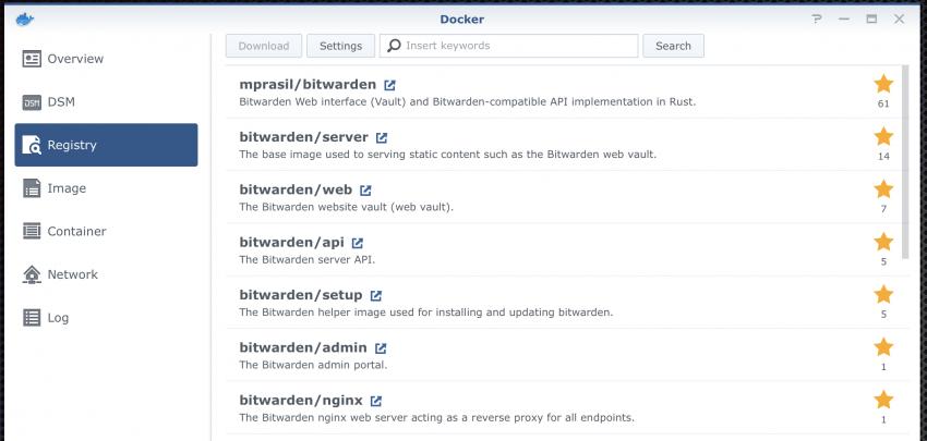 Docker - BitWarden - self hosted password manager using bitwardenrs
